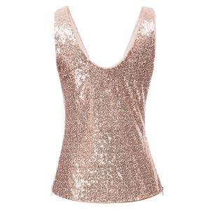 NWT Grace Karin gold sequin tank top size large